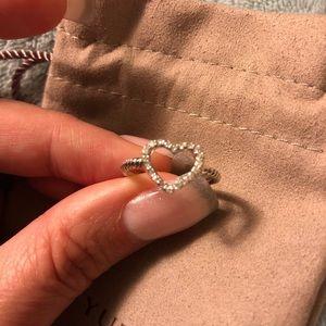 DY diamond heart 925 Ring! Size 6.5